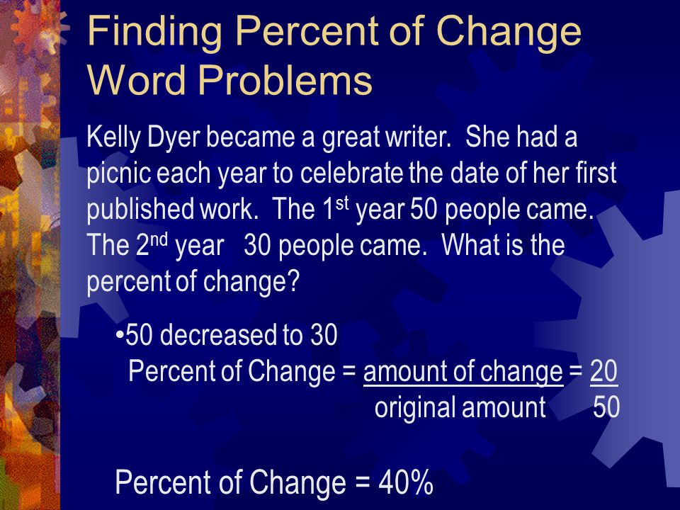 Finding Percent of Change Word Problems