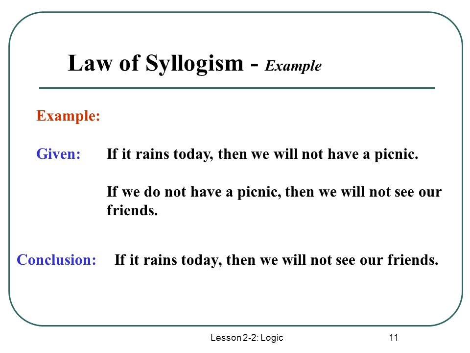 example of syllogism Medieval theories of the syllogism  aristotle's principal example is a syllogism through impossibility if we reason from a hypothesis p via a syllogism to a conclusion q that is impossible, then we can conclude that not-p is true and p false (an pr 41a23–30.