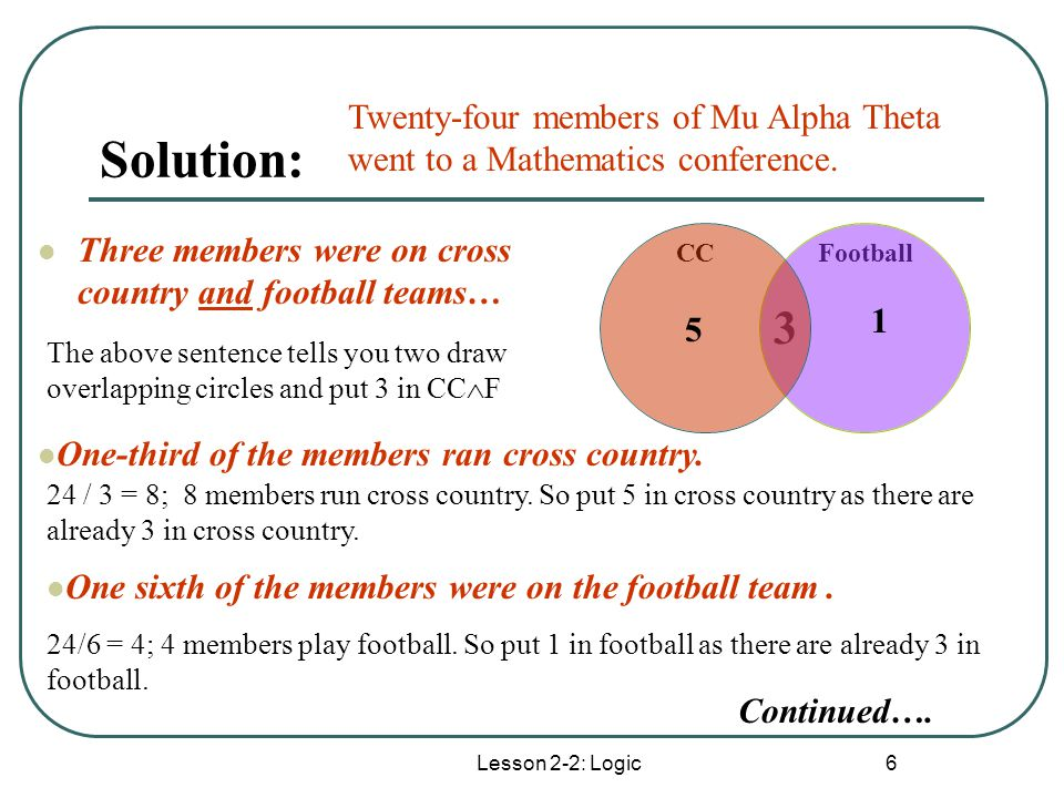 Solution: Twenty-four members of Mu Alpha Theta went to a Mathematics conference. Three members were on cross country and football teams…