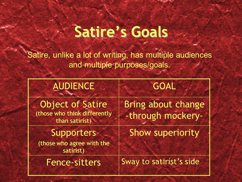 Satire's Goals AUDIENCE GOAL