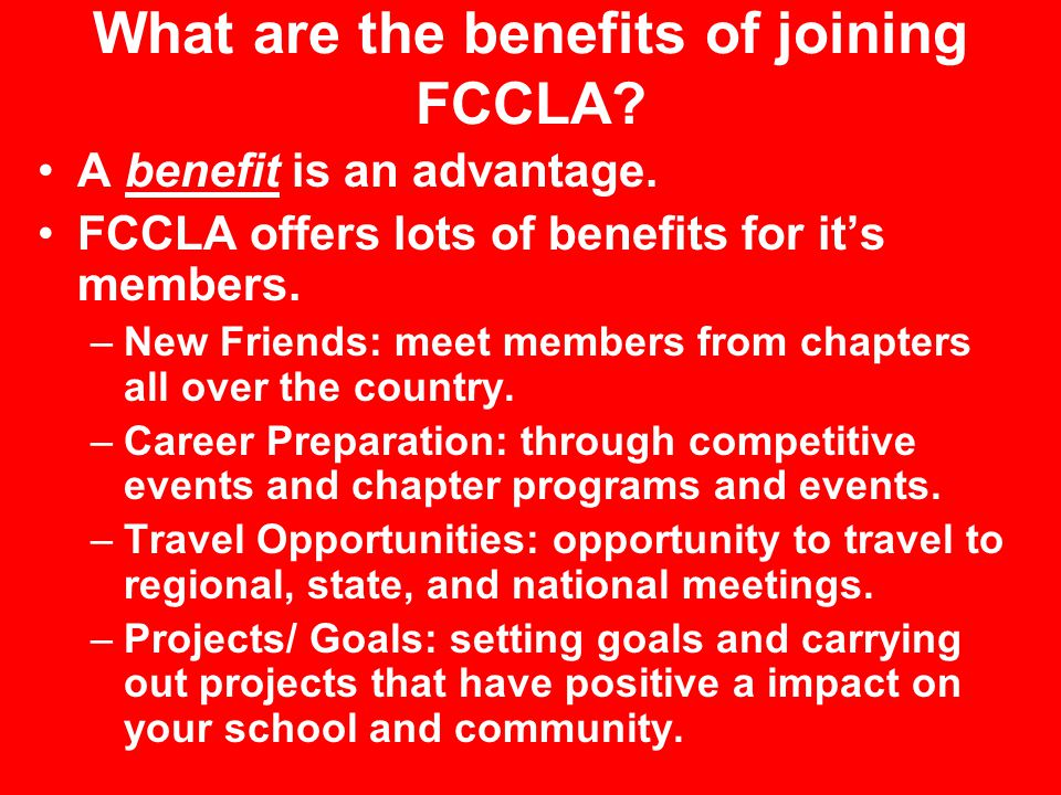What are the benefits of joining FCCLA