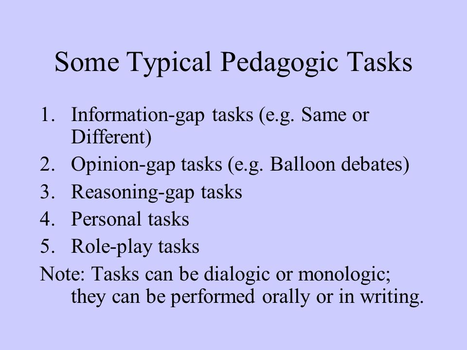 Some Typical Pedagogic Tasks