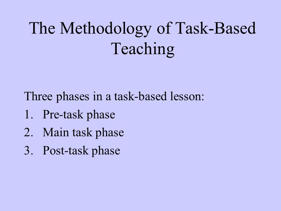 The Methodology of Task-Based Teaching