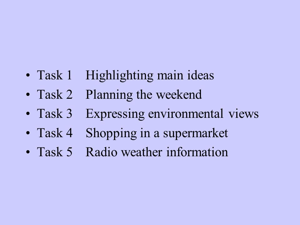 Task 1 Highlighting main ideas