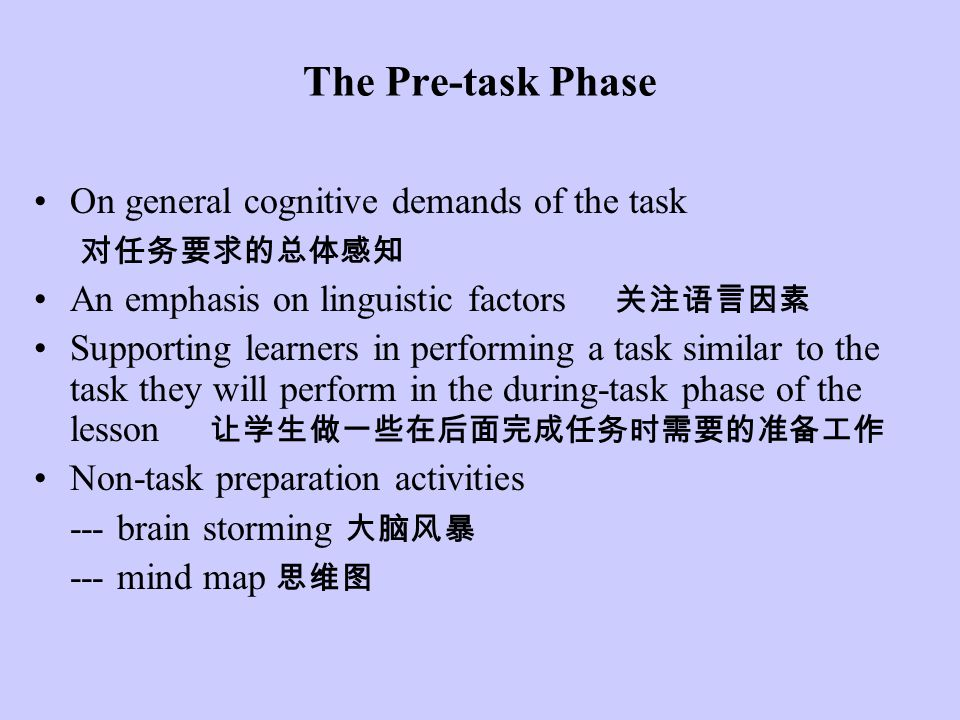 The Pre-task Phase On general cognitive demands of the task 对任务要求的总体感知