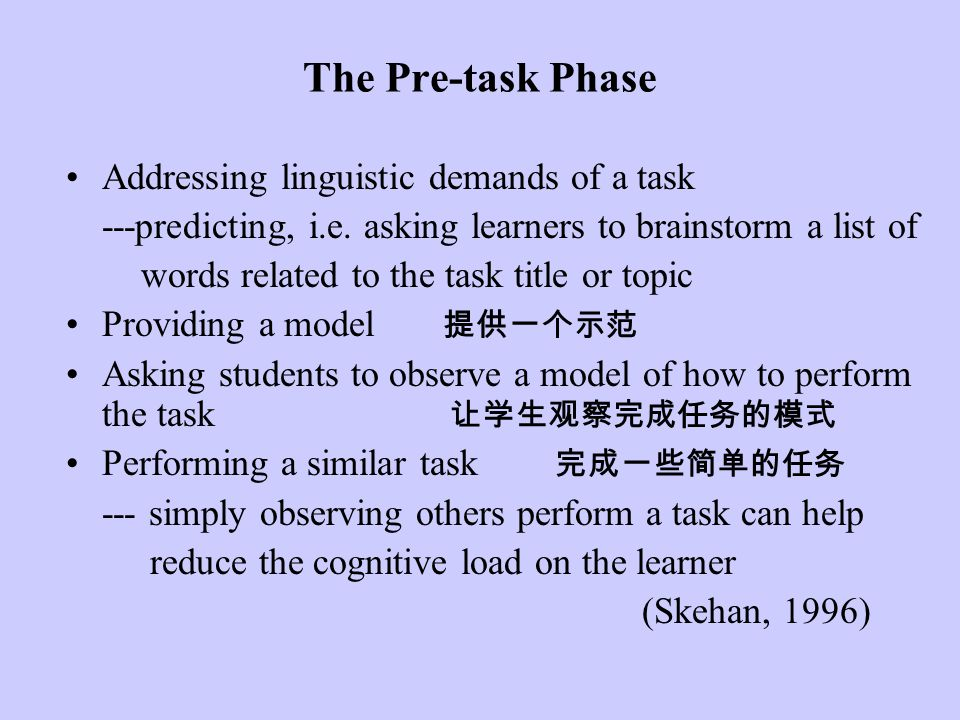 The Pre-task Phase Addressing linguistic demands of a task