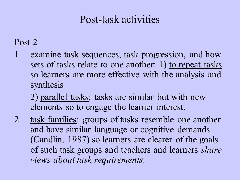 Post-task activities Post 2
