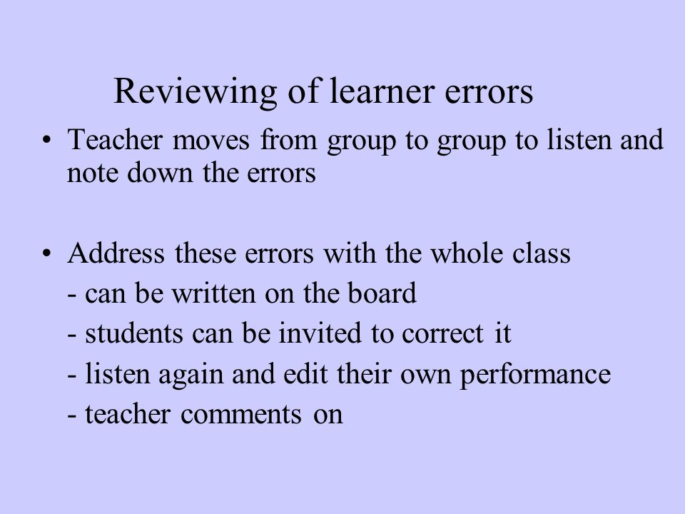 Reviewing of learner errors