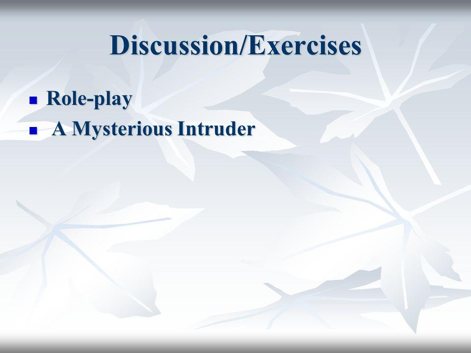 Discussion/Exercises