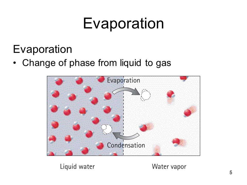 Evaporation Evaporation Change of phase from liquid to gas