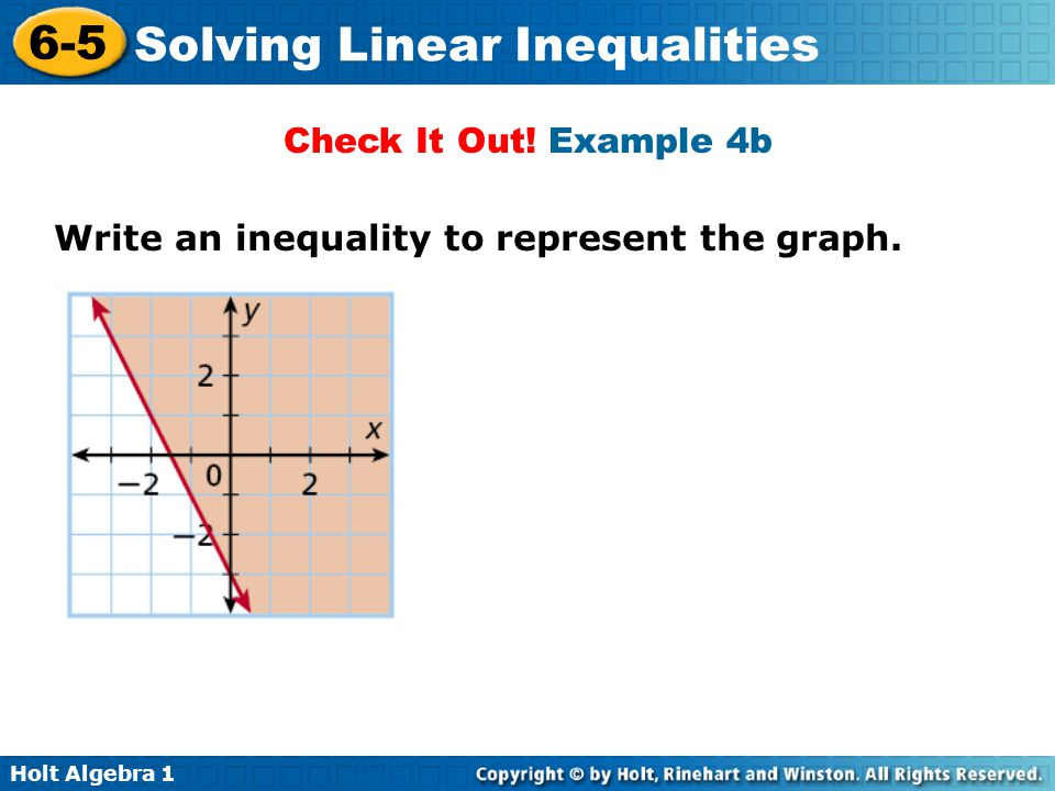 Check It Out! Example 4b Write an inequality to represent the graph.