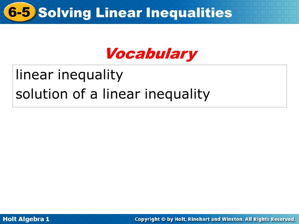 Vocabulary linear inequality solution of a linear inequality