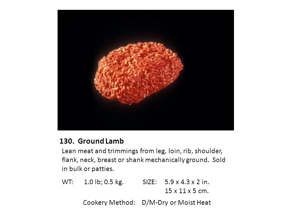 Cookery Method: D/M-Dry or Moist Heat