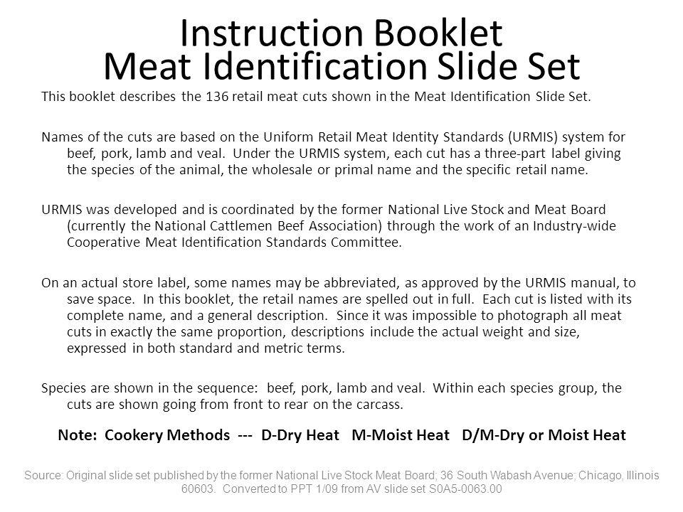 Instruction Booklet Meat Identification Slide Set