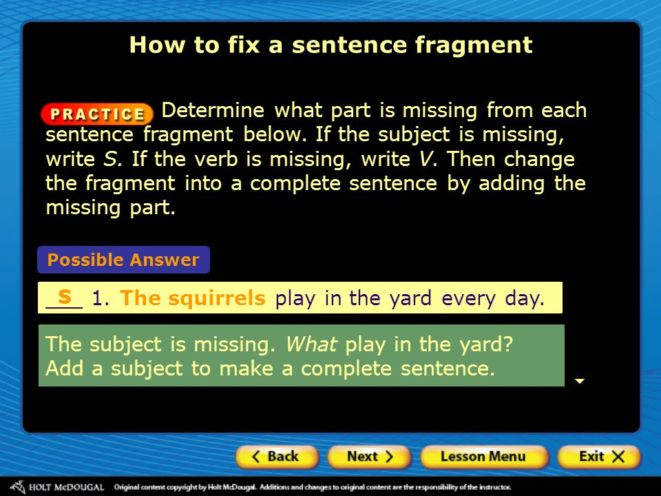 How to fix a sentence fragment