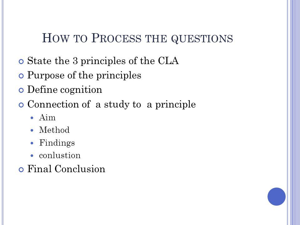 How to Process the questions