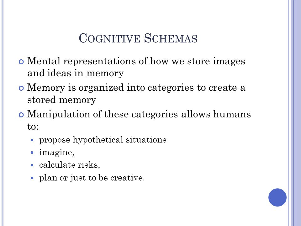 Cognitive Schemas Mental representations of how we store images and ideas in memory. Memory is organized into categories to create a stored memory.