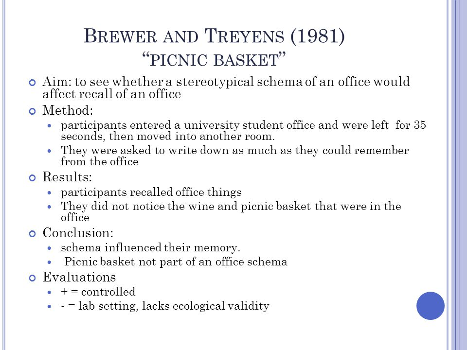 Brewer and Treyens (1981) picnic basket