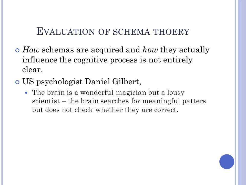 Evaluation of schema thoery