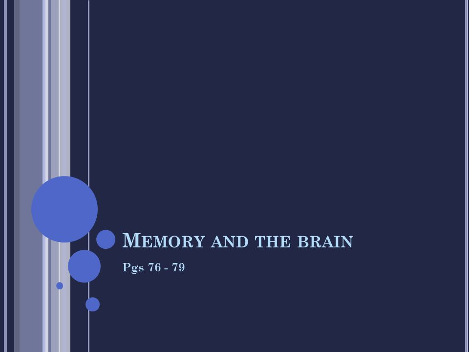 Memory and the brain Pgs 76 - 79