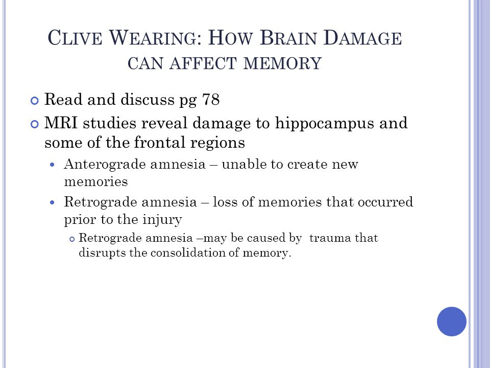 Clive Wearing: How Brain Damage can affect memory