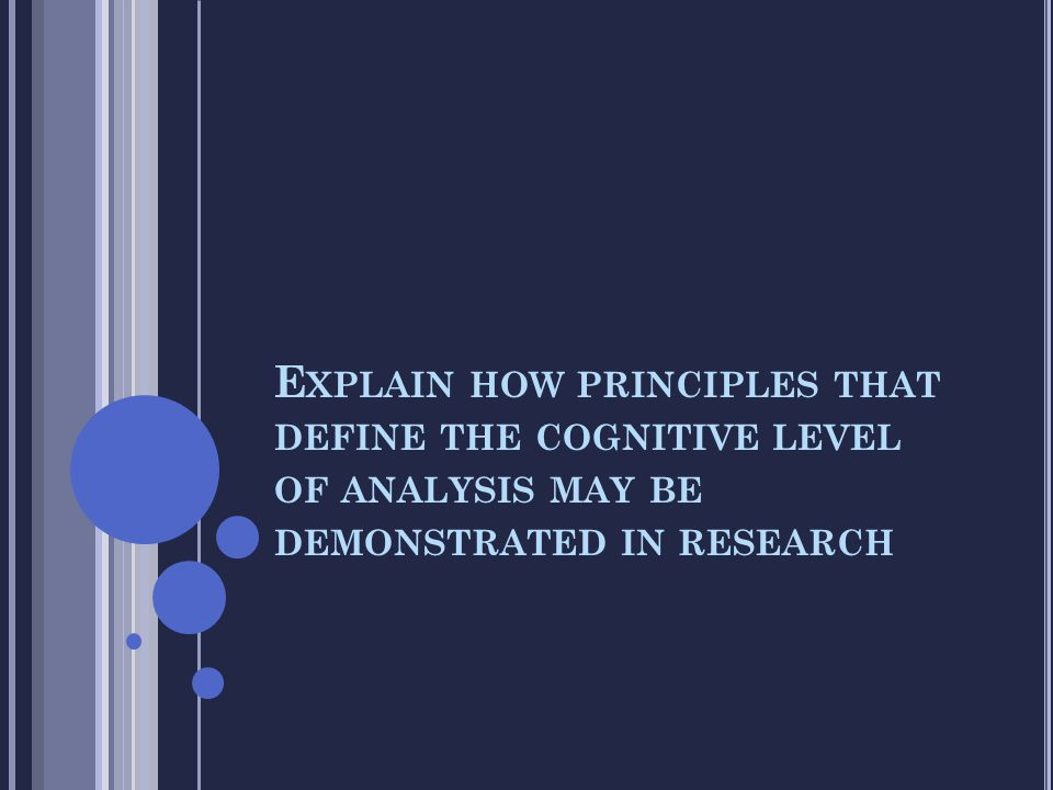 Explain how principles that define the cognitive level of analysis may be demonstrated in research
