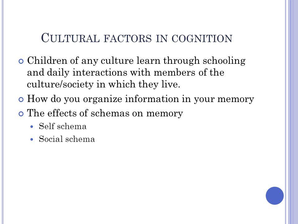 Cultural factors in cognition
