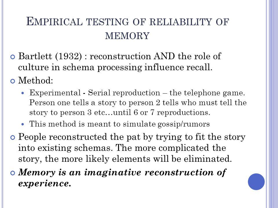 Empirical testing of reliability of memory