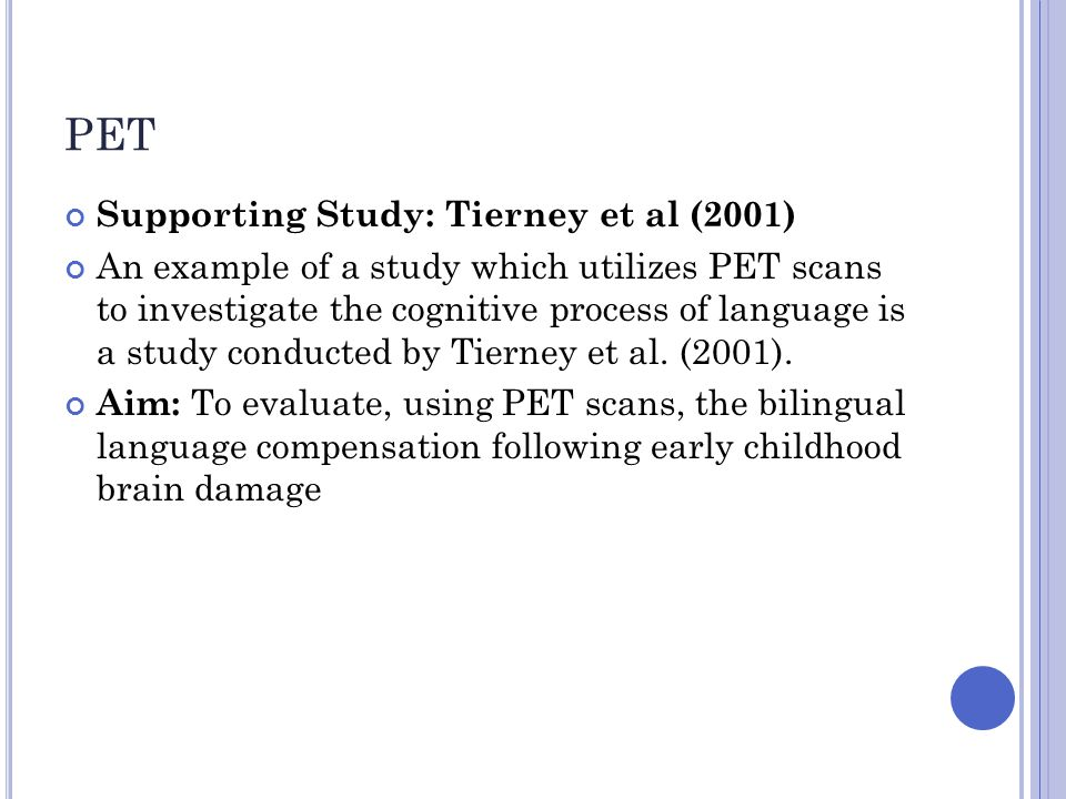 PET Supporting Study: Tierney et al (2001)
