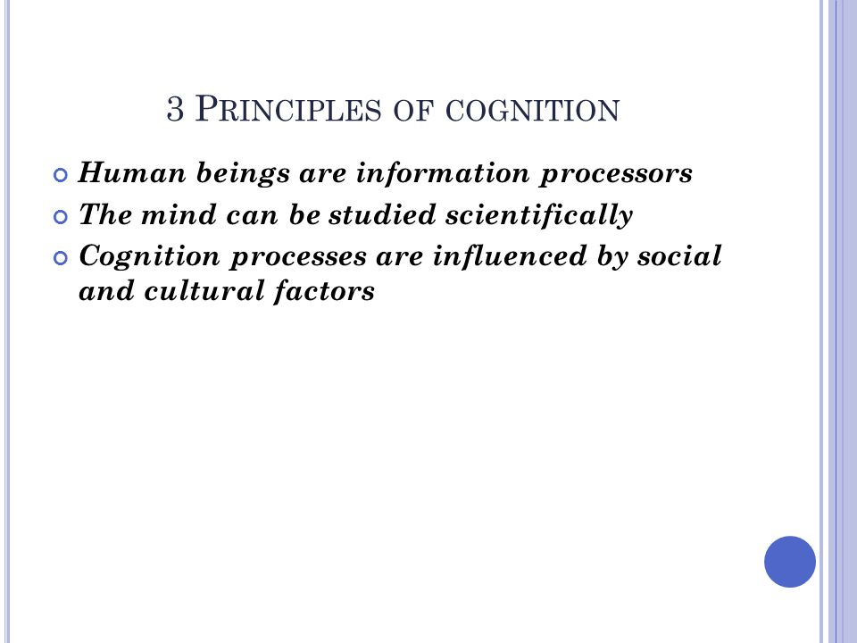 3 Principles of cognition