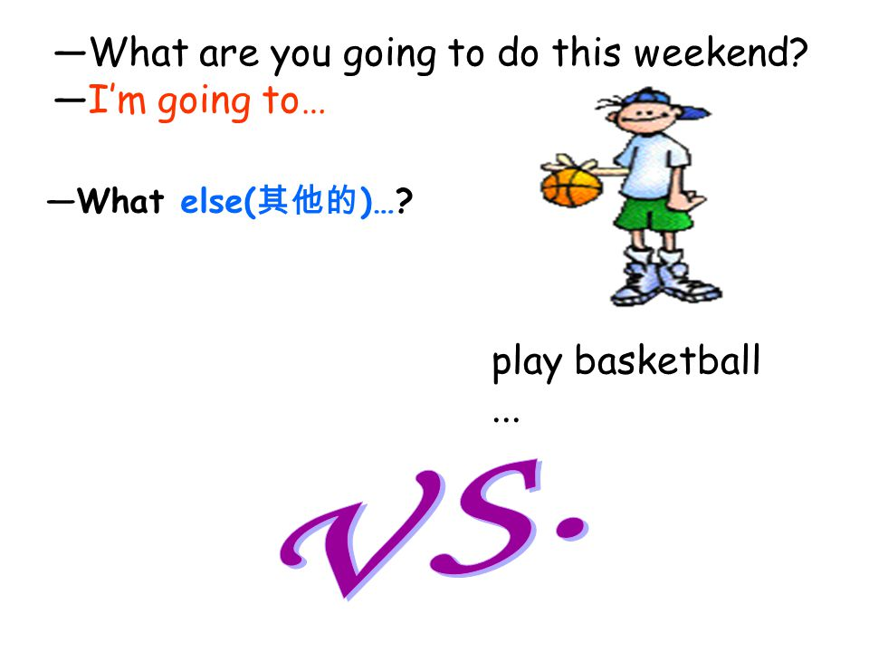 VS. —What are you going to do this weekend —I'm going to…