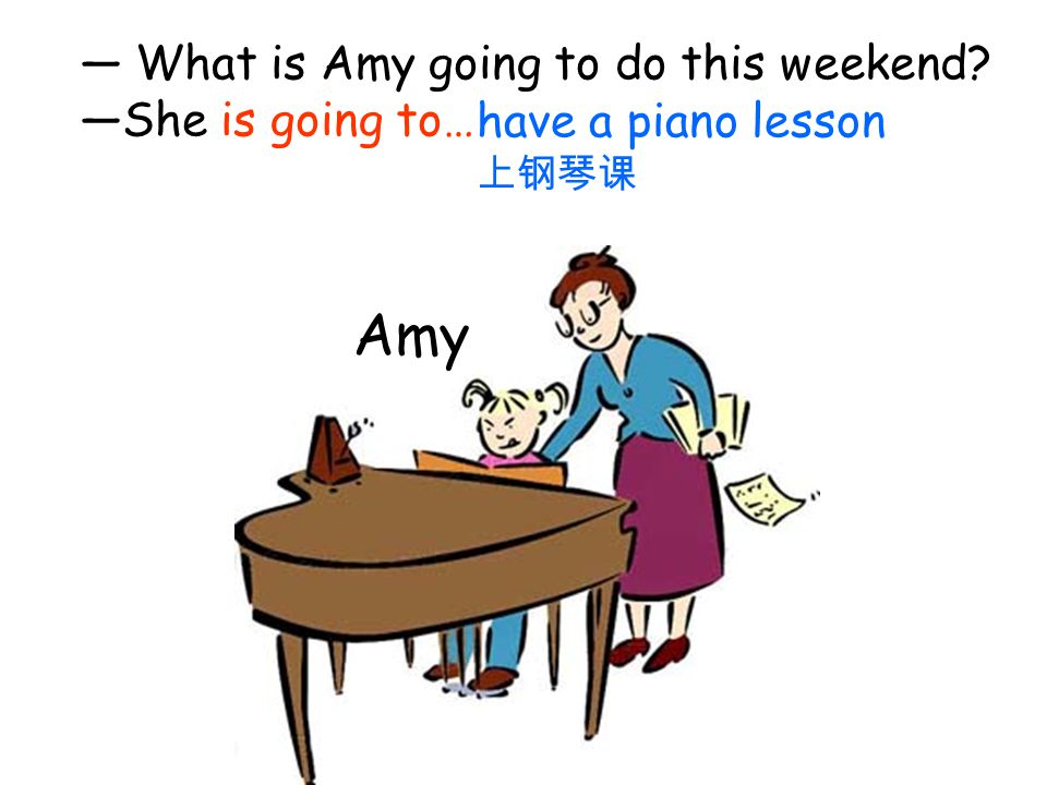 Amy — What is Amy going to do this weekend —She is going to…