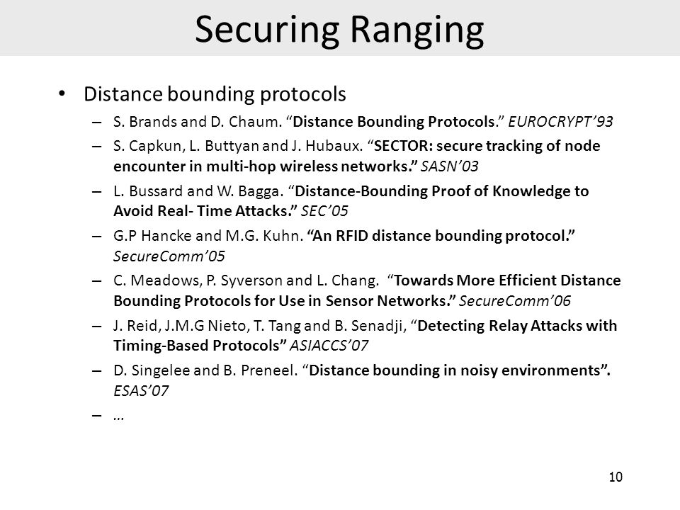 Securing Ranging Distance bounding protocols