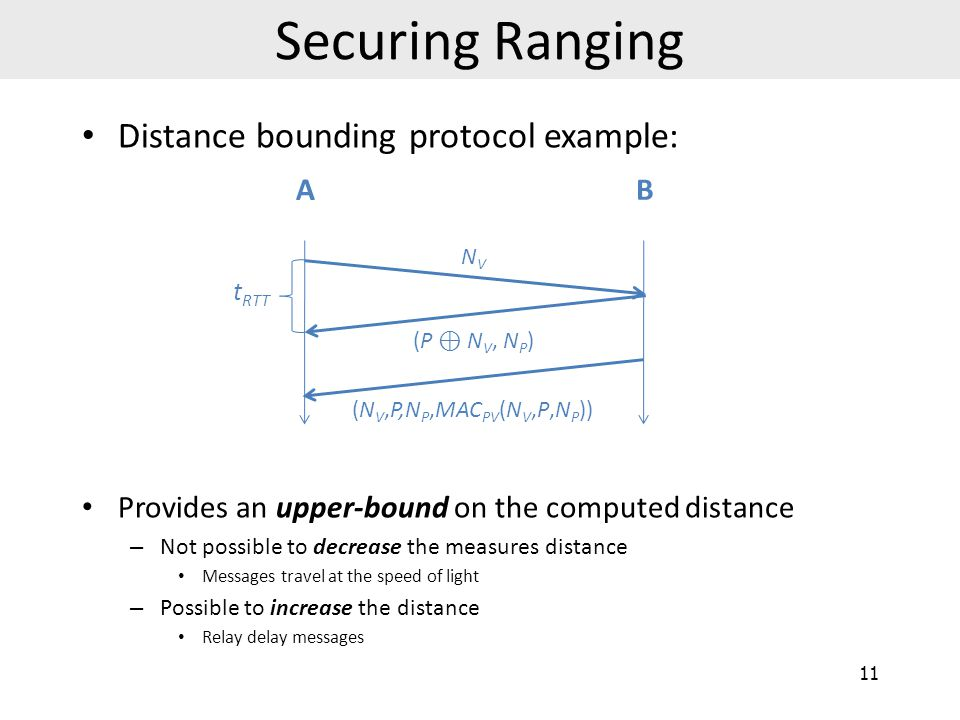 Securing Ranging Distance bounding protocol example: