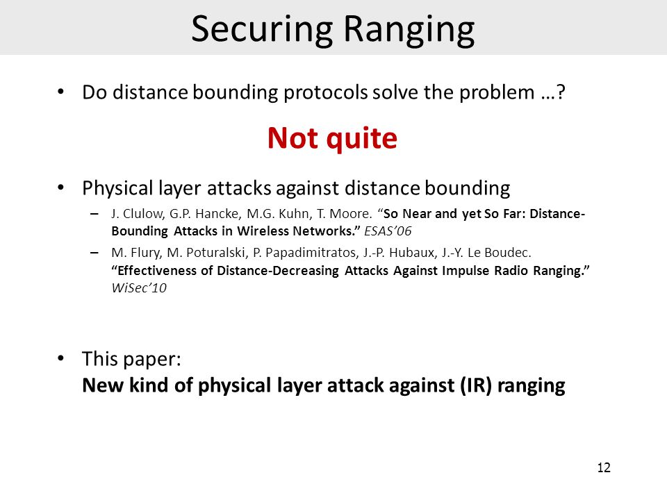 Securing Ranging Not quite