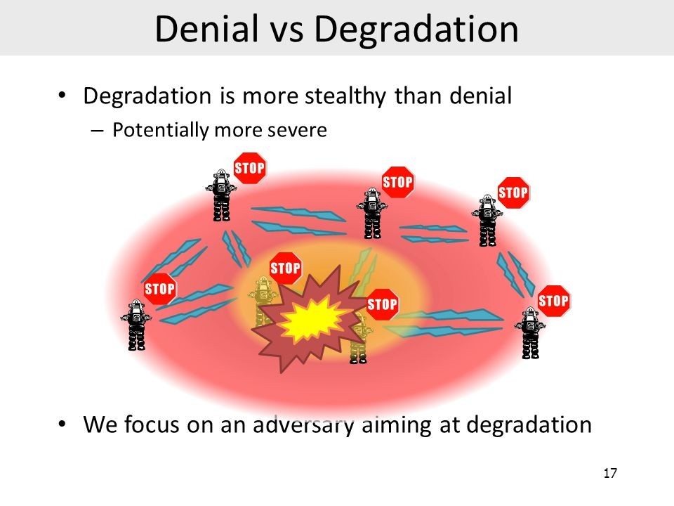 Denial vs Degradation Degradation is more stealthy than denial