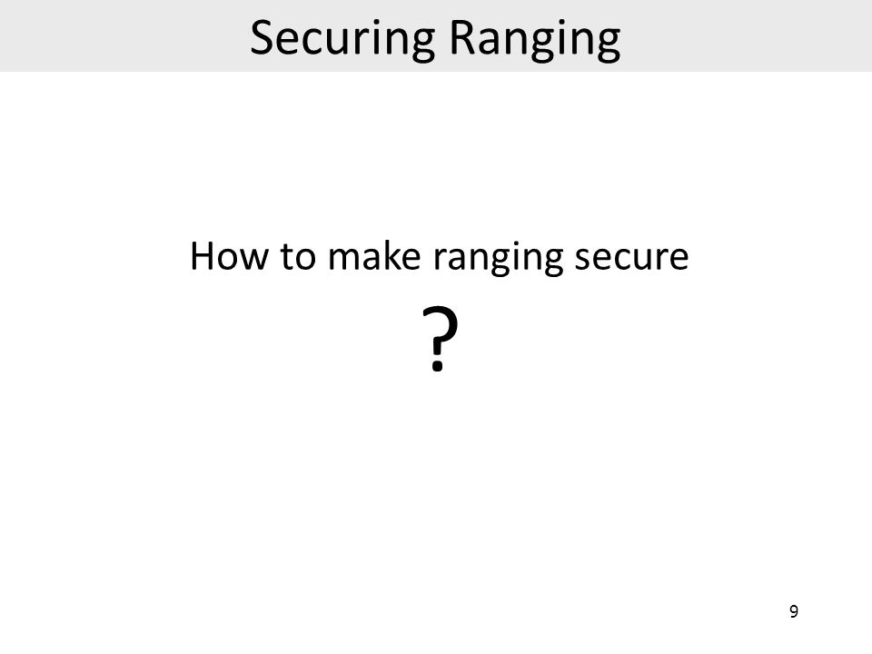 How to make ranging secure
