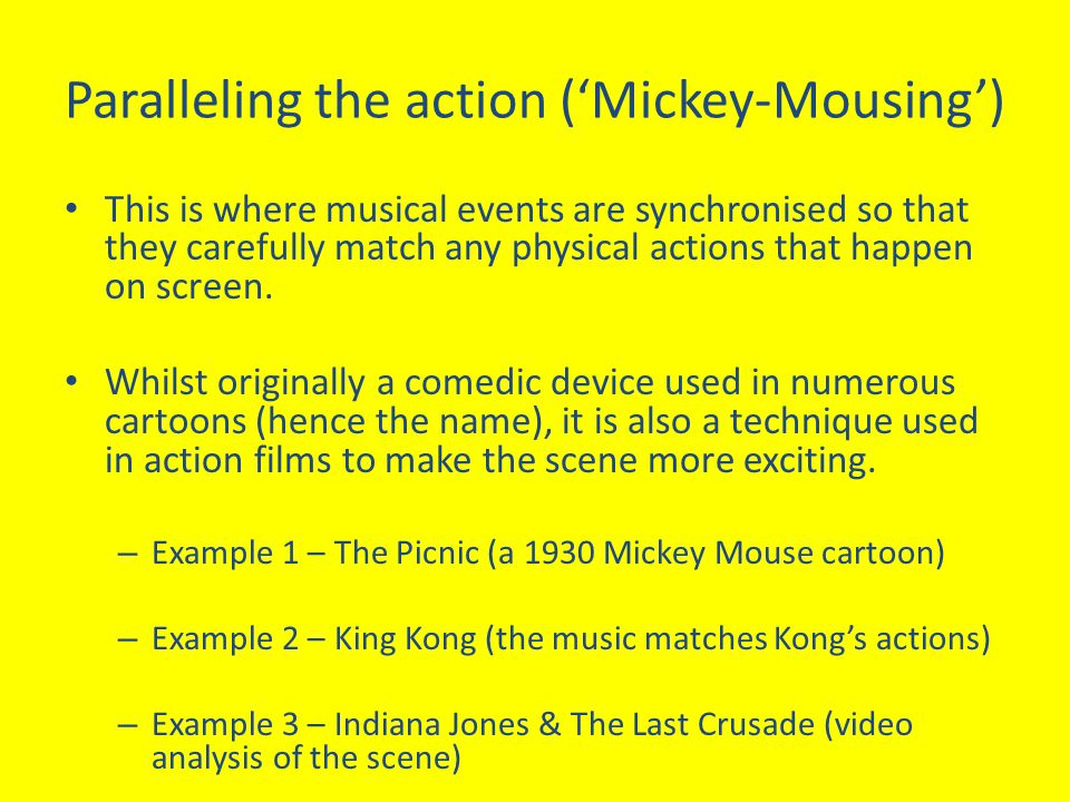 Paralleling the action ('Mickey-Mousing')
