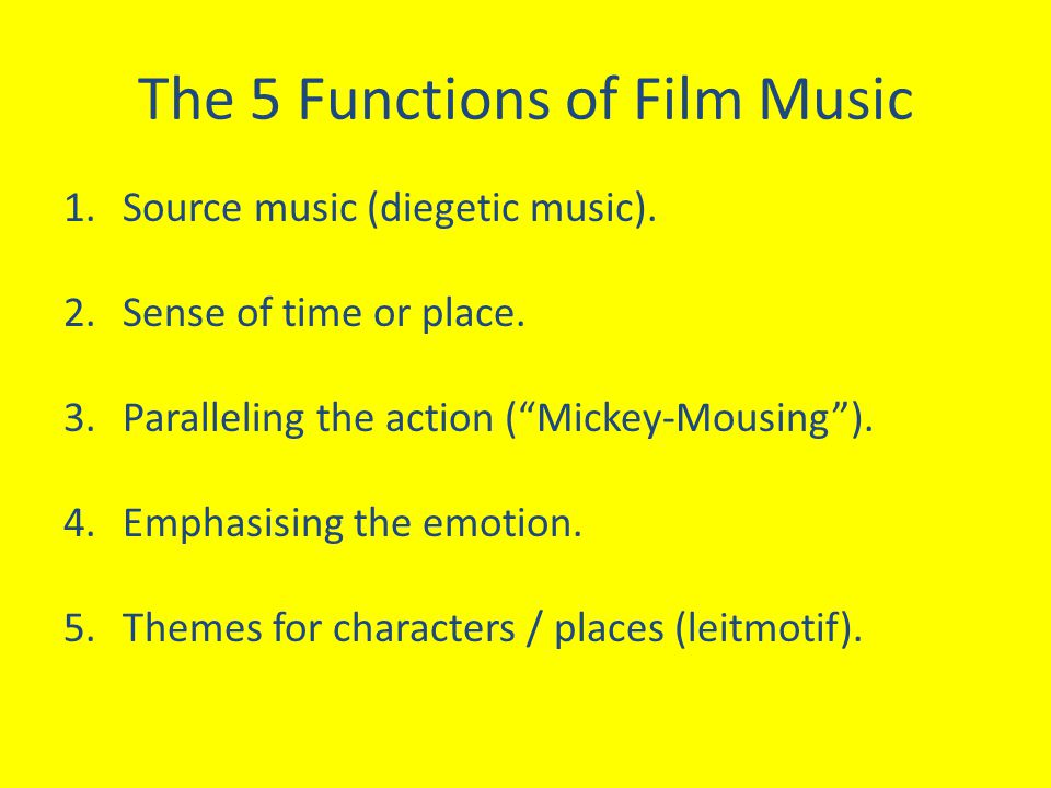 The 5 Functions of Film Music