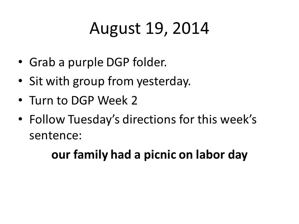 our family had a picnic on labor day