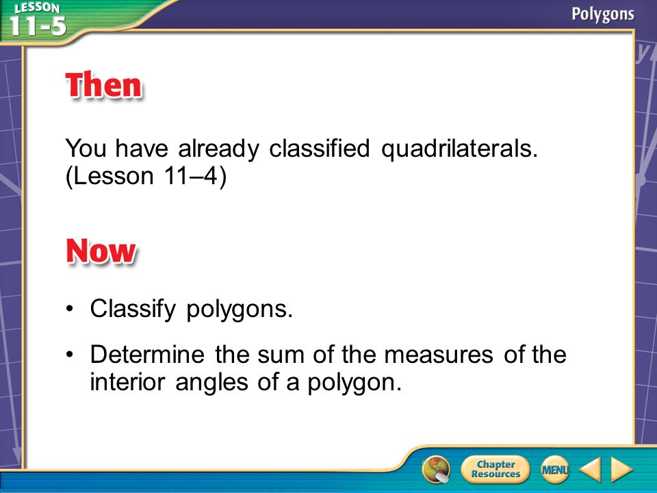 You have already classified quadrilaterals. (Lesson 11–4)