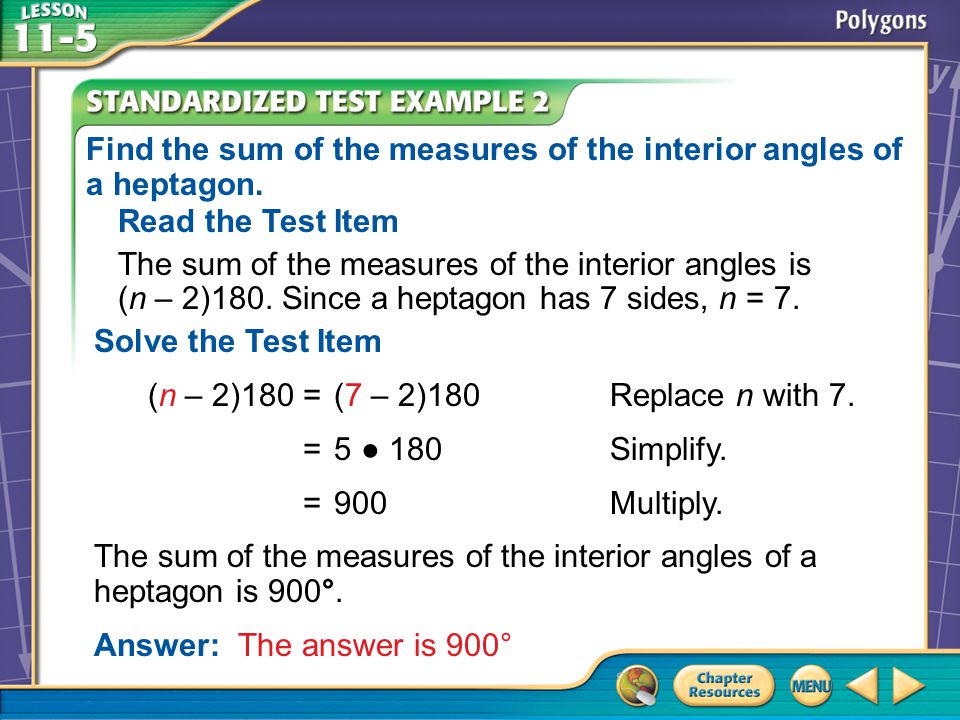 Find the sum of the measures of the interior angles of a heptagon.