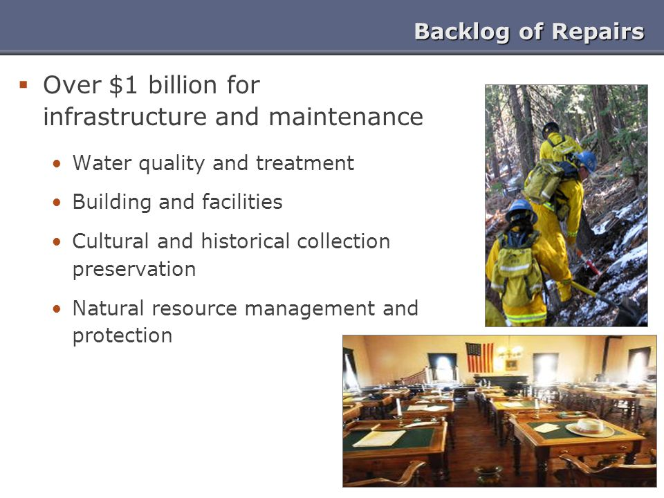 Over $1 billion for infrastructure and maintenance