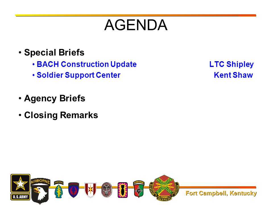 AGENDA Special Briefs Agency Briefs Closing Remarks