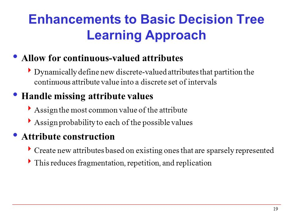 Enhancements to Basic Decision Tree Learning Approach