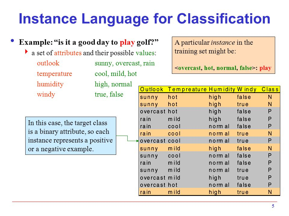 Instance Language for Classification