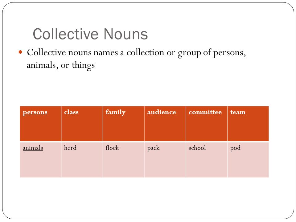 Collective Nouns Collective nouns names a collection or group of persons, animals, or things. persons.