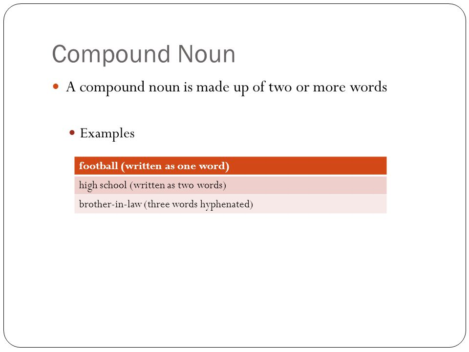 Compound Noun A compound noun is made up of two or more words Examples