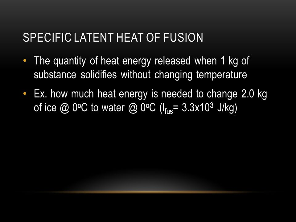 Specific latent heat of fusion