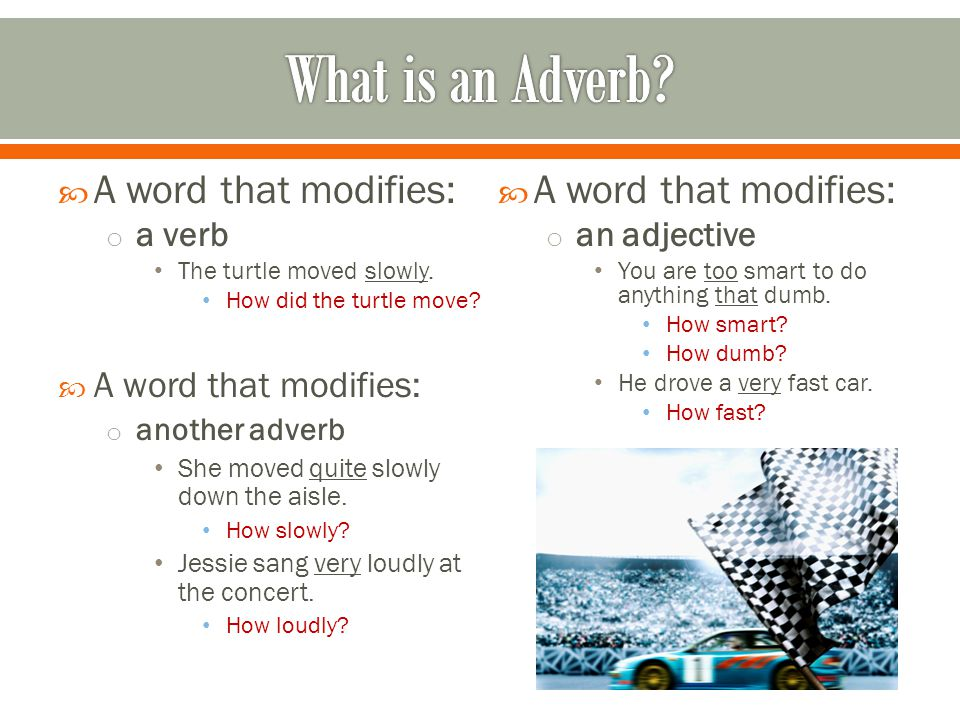 What is an Adverb A word that modifies: A word that modifies: